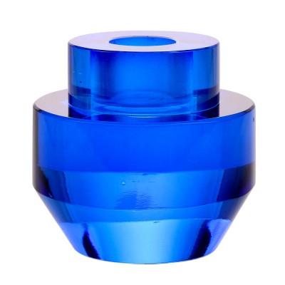 Bougeoir rond en cristal bleu cobalt HK Living
