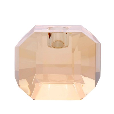 Crystal glass candle holder amber diamond