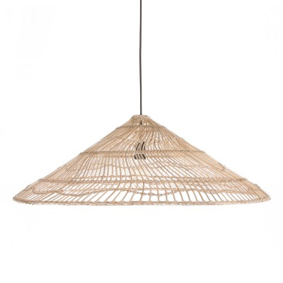 Wicker hanging lamp triangle natural L HK Living