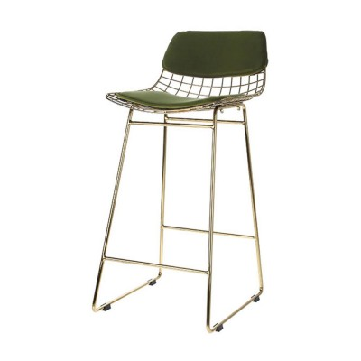 Kit de confort en velours vert pour tabouret de bar HK Living