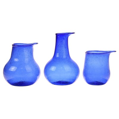 Vases en verre recyclé bleu cobalt (lot de 3)