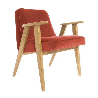 Fauteuil 366 Junior Velours chili pepper