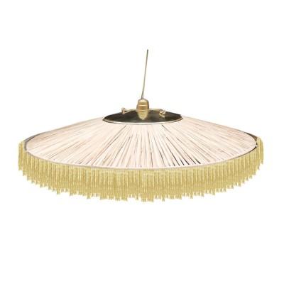 Parasol pendant lamp raffia & golden fringes