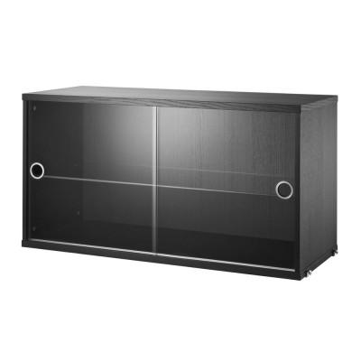 Vitrine frêne teinté noir avec portes coulissantes en verre - Système String String