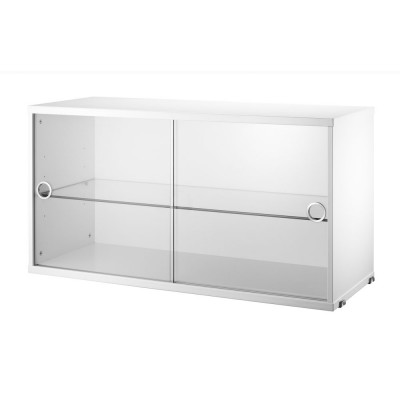 White display cabinet with sliding glass doors - String system