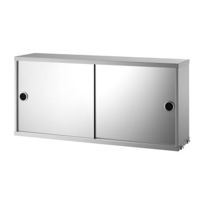Cabinet avec portes coulissantes miroir gris - Système String String