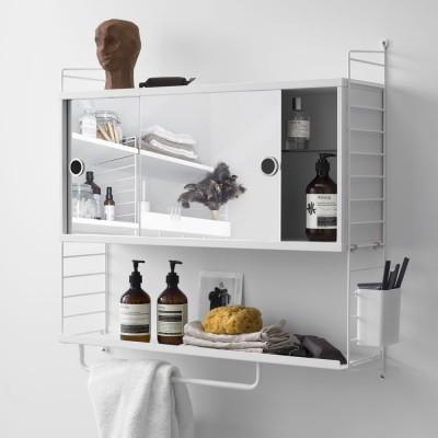 Cabinet avec portes coulissantes miroir blanc - Système String String