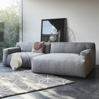 Clay sofa 3 seaters with longchair Sydney 91 Grey