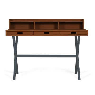 Hyppolite desk walnut slate grey