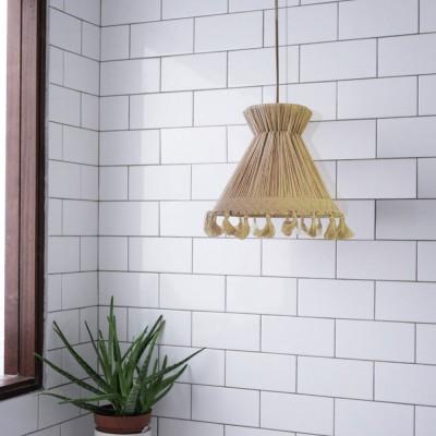 Conical pendant lamp raffia XS