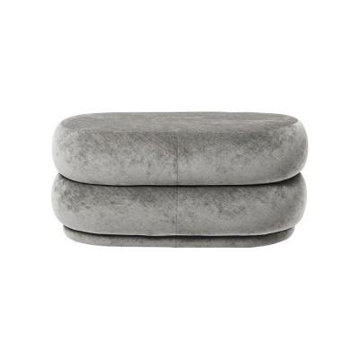 Pouf Oval M gris velours
