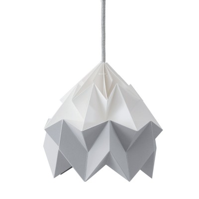 Suspension origami en papier Moth blanc & gris Snowpuppe