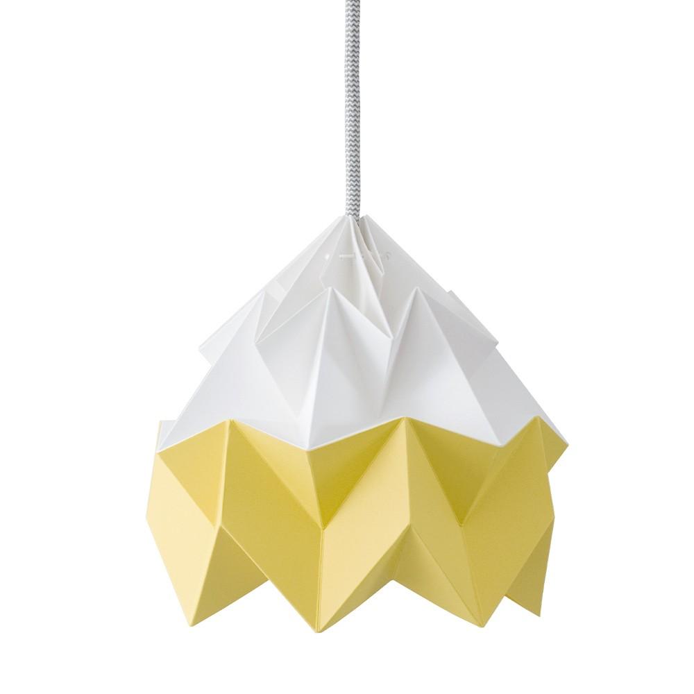 Suspension origami en papier Moth blanc & jaune doré