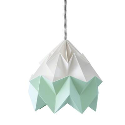 Suspension origami en papier Moth blanc & vert menthe