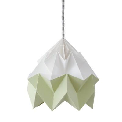 Moth paper origami lamp white & autumn green