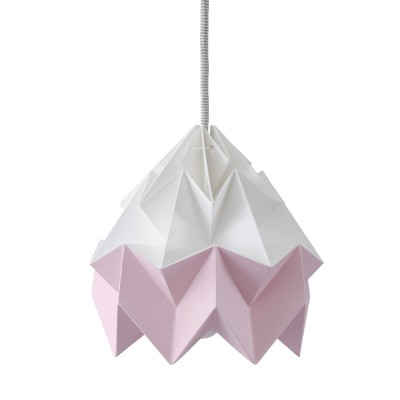 Moth paper origami lamp white & pink