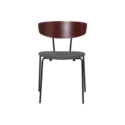 Set of 2 Herman chairs grey fabric & red brown Ferm Living