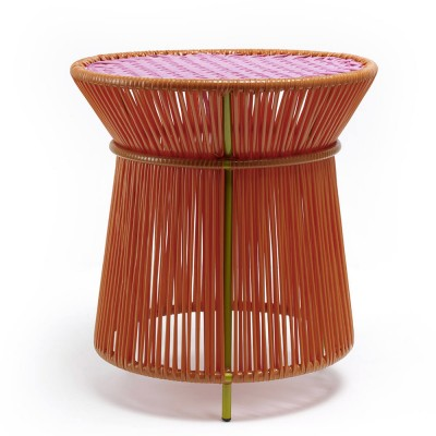 Caribe high side table orange, pink & curry