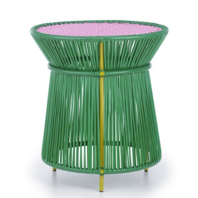 Caribe high side table green, pink & curry