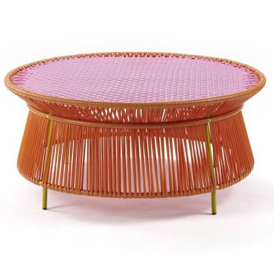 Table basse Caribe orange, rose & curry