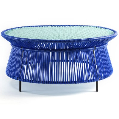 Caribe low table blue, mint & black