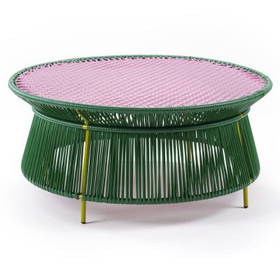 Table basse Caribe vert, rose & curry