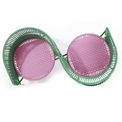 Vis a vis armchair Caribe green, pink & curry