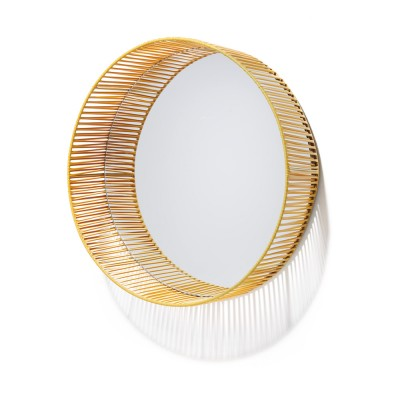 Cesta mirror round honey & sand