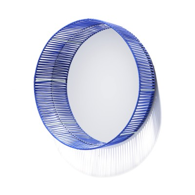 Cesta mirror round blue & mint