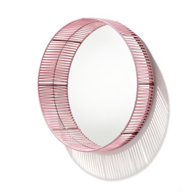 Cesta mirror round rose & red