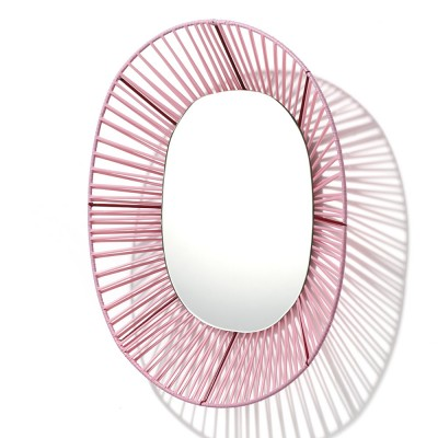 Cesta oval mirror rose & red