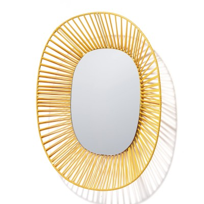 Cesta mirror ovale-shaped honey & sand