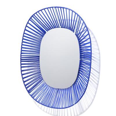 Cesta oval mirror blue & mint