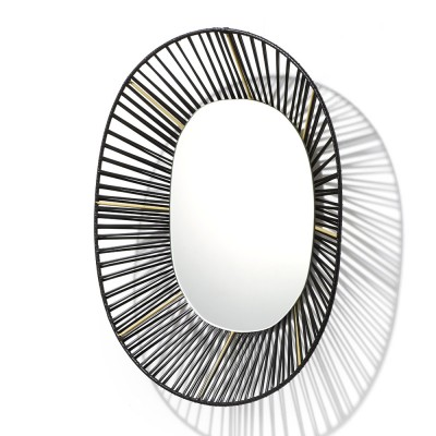 Cesta oval mirror black & sand