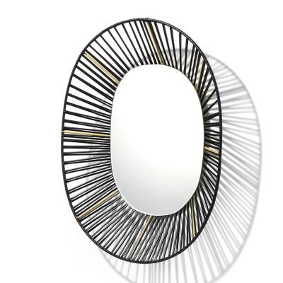Miroir ovale Cesta noir & sable ames