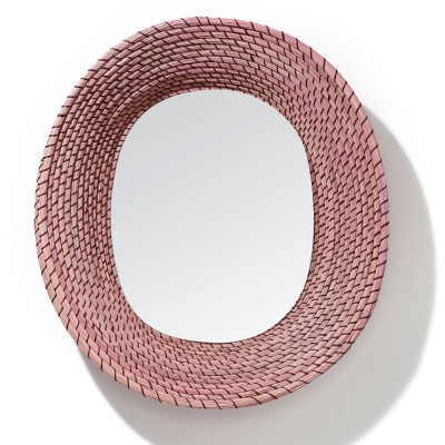 Killa oval mirror pink & dark red