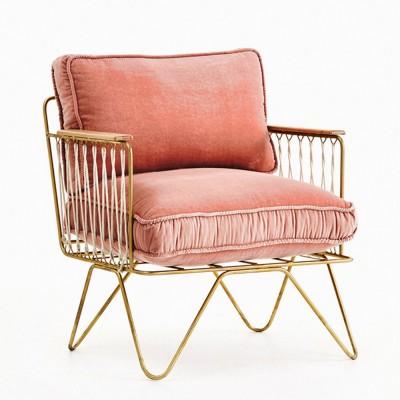 Croisette armchair powder pink & gold