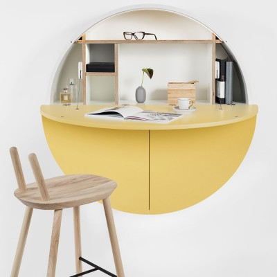 Pill wall desk yellow & white