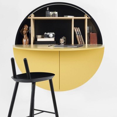 Pill wall desk yellow & black