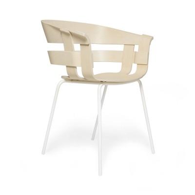 Chaise Wick frêne & métal blanc