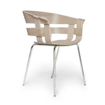 Wick chair oak & chromed metal