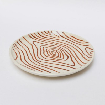Plate faux-wood white S (set of 6)