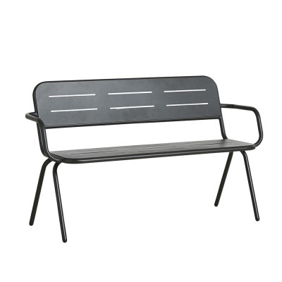 Ray bench with armrests charcoal black