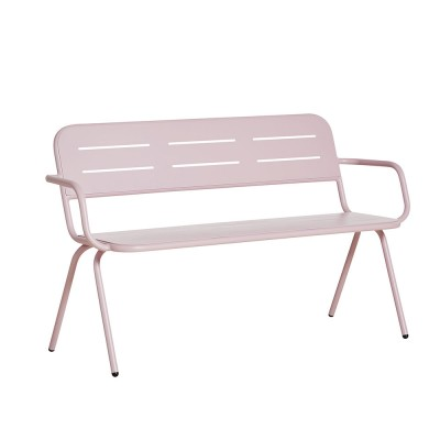 Ray bench with armrests rose pink Woud