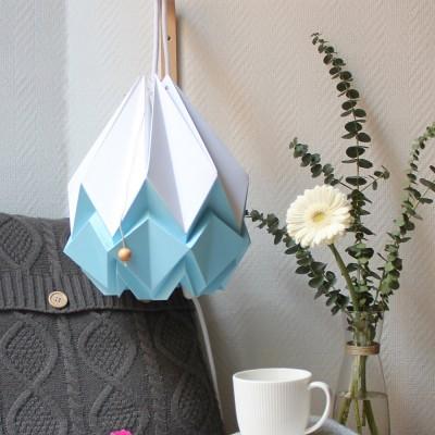 Hanahi pendant lamp white & sky blue Tedzukuri Atelier