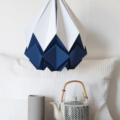 Hanahi pendant lamp white & navy blue Tedzukuri Atelier