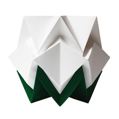 Hikari table lamp paper white & forest green Tedzukuri Atelier