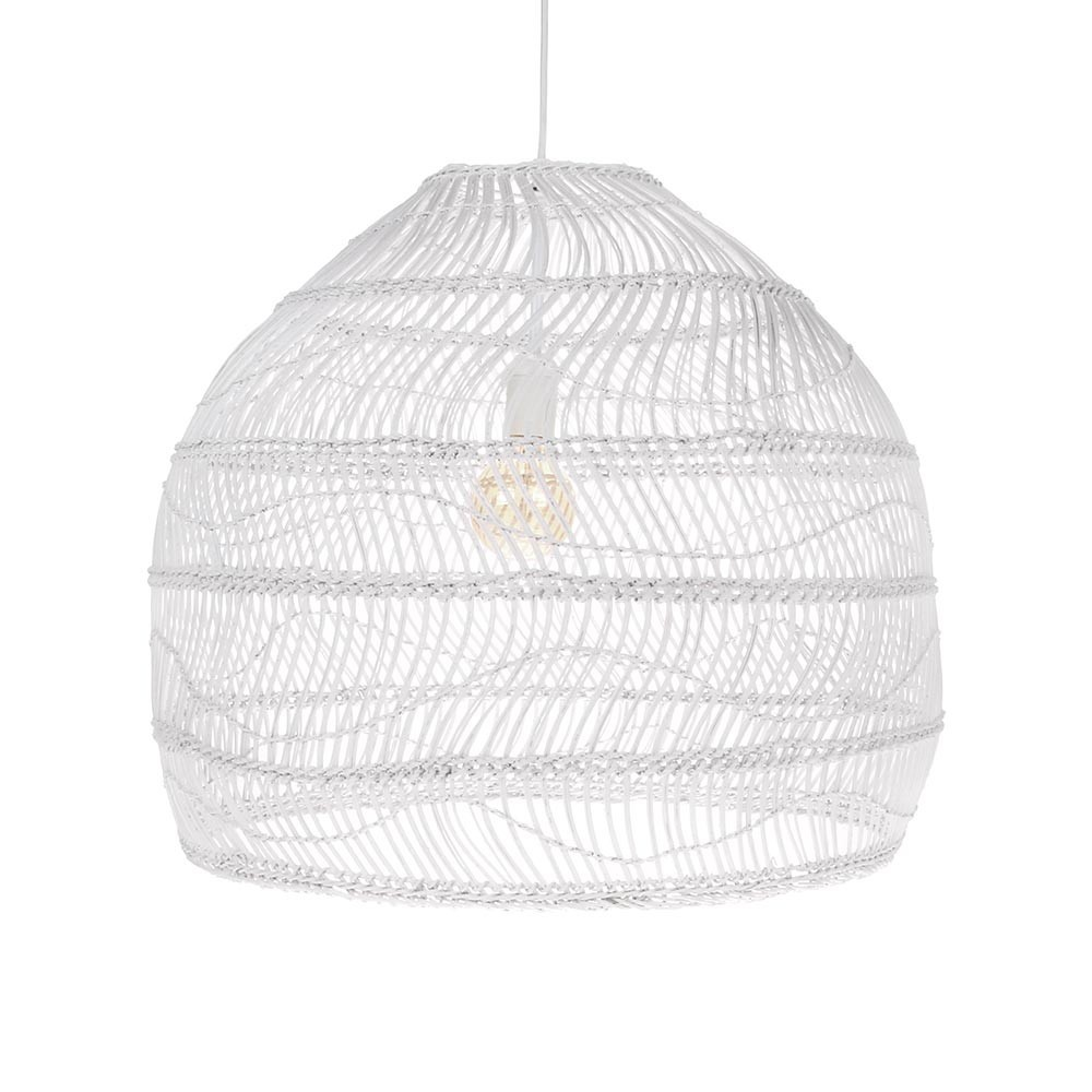 Suspension boule en osier blanc M