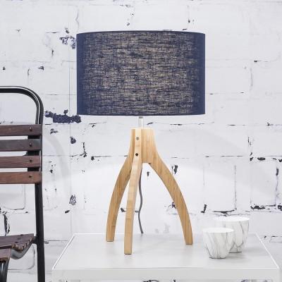 Lampe à poser Annapurna lin bleu denim