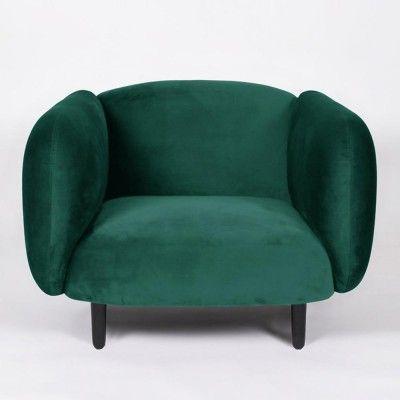 Fauteuil Moïra velours vert canard